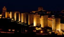 Ávila en la noche Imágenes de archivo libres de regalías