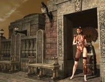 ââGirl del Cyber de un templo antiguo Foto de archivo libre de regalías
