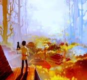 Ââin da cidade a floresta Imagem de Stock Royalty Free