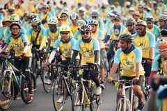 """Bike for Dad"" Thailand's cycling celebration for His Majesty the King. Stock Photos"