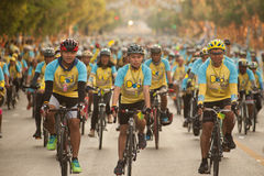 """Bike for Dad"" Thailand's cycling celebration for His Majesty the King. Royalty Free Stock Photo"