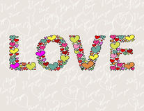 """LOVE"" made of hearts Royalty Free Stock Photos"