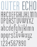 �OUTER ECHO� retro striped rounded font. Stock Photos