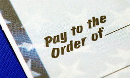 �Pay To The Order Of� Stock Photo