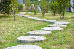 �Round Stone� Path In The Park Royalty Free Stock Images