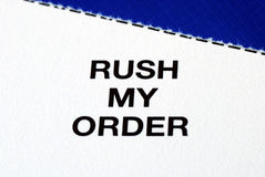 �Rush My Order� from a business reply postcard Royalty Free Stock Image