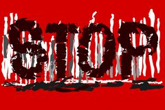 'END'Text auf rot-weißem - grauer Hintergrund stock abbildung