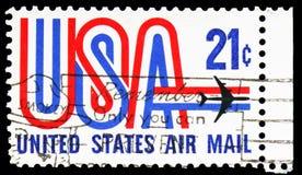 'USA 'und spritzen, Luftpost serie, circa 1971 stockfotos