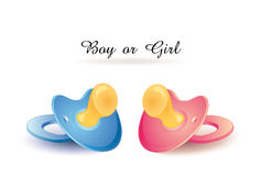 """""""Boy or Girl""""  Congratulations Card. Two babys dummy red and blue isolated Stock Photo"""