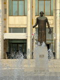 """""""Vasile Alecsandri"""" statue in front of the House of culture Bacau. Bacău is the main city in Bacău County, Romania. As of 2011 census, it is the 15th Stock Image"""