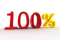 '100%' logo. 3d rendering of '100%' text stock illustration