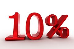 '10%' logo. 3d rendering of '10%' text Stock Illustration