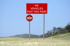 'No Vehicles Past This Point' sign Royalty Free Stock Images