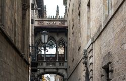 'Pont del Bisbe' or 'Bishop's Bridge' in Gothic Quarter of Barcelona. The Neo-Gothic Flamboyant-style 'Pont del Bisbe' or 'Bishop's Bridge' Royalty Free Stock Photo