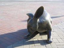 'Tortoise et la sculpture en Hare', place de Copley, Boston, le Massachusetts, Etats-Unis Image libre de droits