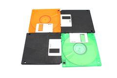 3 1⁄2 inch 1.44 MB floppy disk on white background stock photography