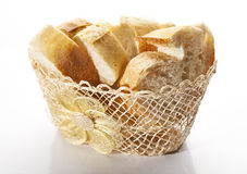 âEUR. Freshly baked bread in a wicker basket royalty free stock photos