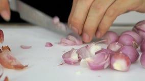 förbereder att laga mat thai mat, genom att hugga av lager videofilmer