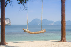 Log Swing by the Sea Stock Images