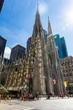 ​MANHATTAN, NEW YORK. ​NEW YORK - SEPTEMBER 19: View to the St. Patricks Cathedral in Midtown Manhattan with the famous 5th Avenue on SEPTEMBER 19, 2015. Its Royalty Free Stock Photography