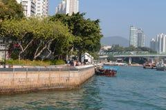 ……Aberdeen tyfonskyddet Hong Kong Arkivbilder