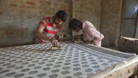 € «декабрь 2016 ДЖАЙПУРА, Раджастхана, Индии: Печатание блока для Texti Стоковая Фотография RF