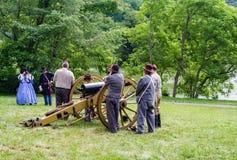 """€ """"Ridge Parkway azul de Reenactors da guerra civil, Virgínia, EUA Imagens de Stock Royalty Free"""