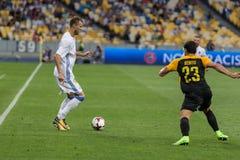 """€ """"Young Boys de Kyiv do dínamo do fósforo de futebol da liga dos campeões, julho Imagens de Stock Royalty Free"""