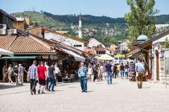 € Bascarsija «старый базар в Сараеве Босния и Герцеговина 12-ого июля 2017 Стоковое Фото