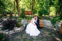 Beautiful par som går i parkera i deras bröllopdag Arkivbild