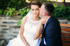 Beautiful par som går i parkera i deras bröllopdag Fotografering för Bildbyråer