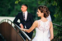 Beautiful par som går i parkera i deras bröllopdag Royaltyfri Bild