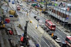 """€ de ESTOCOLMO, SUECIA """"16 de junio de 2017: Tráfico por carretera en el sectio Fotografía de archivo libre de regalías"""