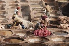 € de FEZ, MAROC «le 20 février 2017 : Hommes travaillant à la tannerie célèbre de Chouara en Médina de Fez, Maroc Photo stock