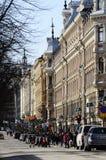 "€ de HELSINKI, FINLANDIA ""22 de marzo de 2014: Pohjoisesplanadi - calle Fotos de archivo"