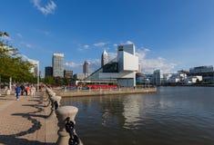 """€ di Cleveland """"14 luglio: il hall of fame del rotolo & della roccia progettato vicino Fotografie Stock"""
