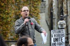 """€ di istruzione di dimostrazione di studente gratis """"nessun tagli, nessun tasse, n Immagini Stock"""