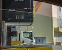 """€ Moskaus, RUSSLAND """"am 29. April 2017: Tankstelle Ansicht von Auto wi Lizenzfreie Stockfotografie"""