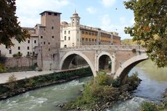 € «Ponte Fabricio Рима Стоковое Изображение