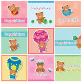 Cute teddy bear digital cards Stock Photography