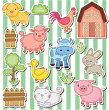 Happy farm animals clip art Royalty Free Stock Images