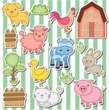 Happy farm animals clip art Royalty Free Stock Images