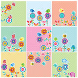 Cute Garden Floral Cards Set Royalty Free Stock Image