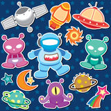 Outer space clip art Royalty Free Stock Images