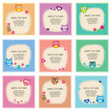 Cute owl frames set Stock Photo