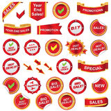 Red label and icons set Royalty Free Stock Photography