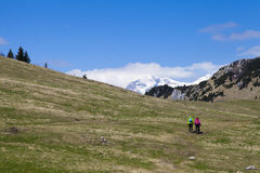 """€ wandern """"Wanderer, die auf Wanderung in der Gebirgsnatur am sonnigen Tag gehen Lizenzfreies Stockbild"""