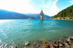 The Bell Tower of Curon, South Tyrol (Italy) Royalty Free Stock Photos