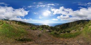 360° σφαιρικό πανόραμα: Άποψη στις κοιλάδες Tabua και Ponta do Sol Στοκ Φωτογραφία