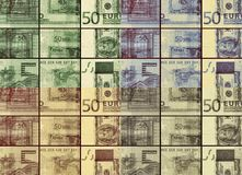 â '¬ λογαριασμός τραπεζογραμματίων 50 ευρώ στο χρωματισμένο κολάζ Στοκ Φωτογραφίες